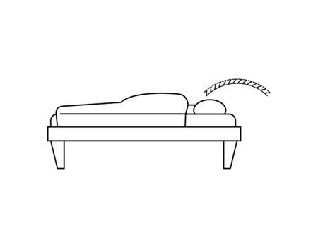 sleeping in bed icon on white Ilustração