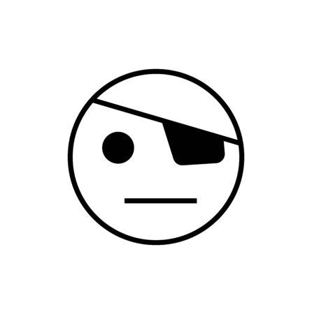 smiley with eyepatch on white Ilustração