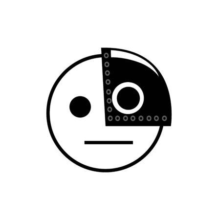 cyborg smiley icon on white