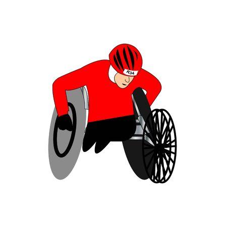 man paraolympic athlete racing on white Ilustração