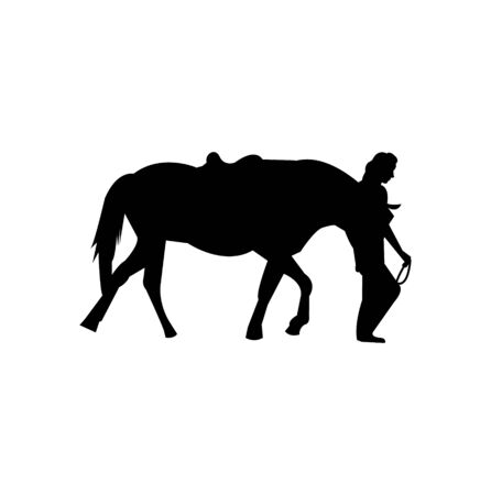 woman with horse silhouette on white