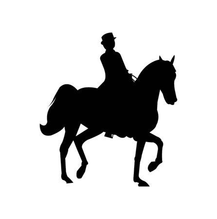 elegant woman on horse silhouette on white