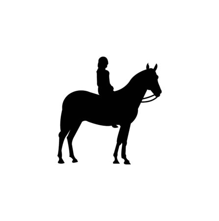 woman on horse silhouette on white