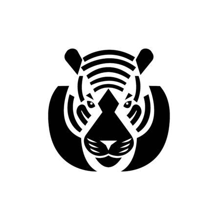 tiger icon head on white