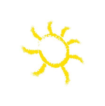 orange sun icon on white Ilustração