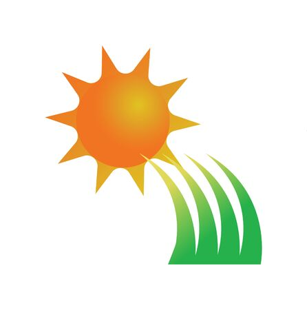 sun and grass icon on white