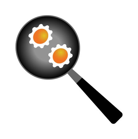 frying pan with eggs on white