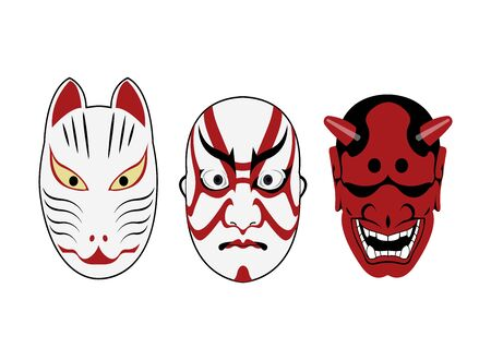kabuki theatre masks on white