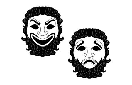 greek theatre masks on white