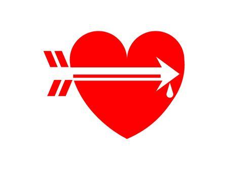 hearth and arrow on white Ilustração