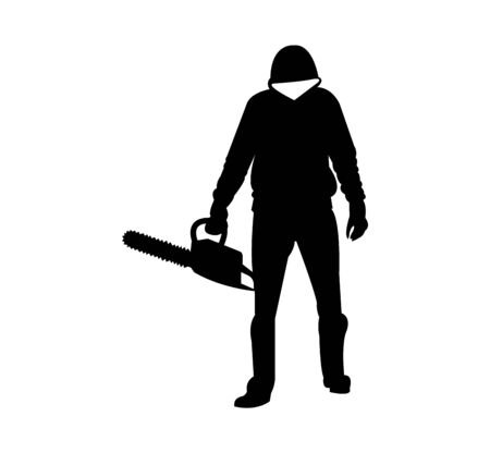 serial killer with chainsaw silhouette on white