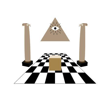 masonic temple on white