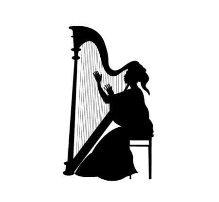 woman playing a harp silhouette