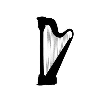 black harp silhouette on white
