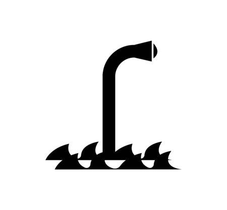 black periscope icon on white Ilustração