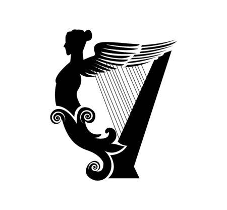 antique harp on white