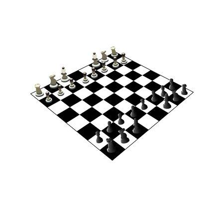 chess board with figures on white Ilustração