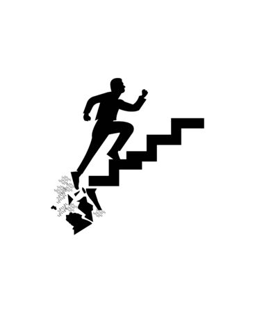 man running up crumbling stairs silhouette on white Ilustração