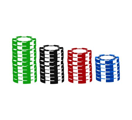 stack of gambling chips on white