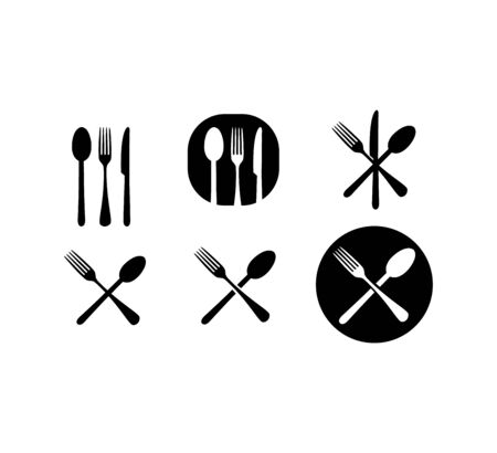 set of cutlery kitchen icons on white