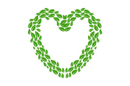 heart made of leaves on white