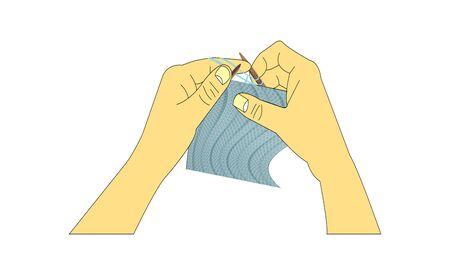 hands knitting a sweater on white Ilustração
