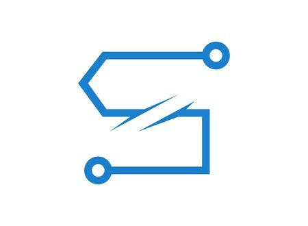 S letter technology logo on white Ilustração