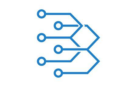computer chip icon on white Ilustração