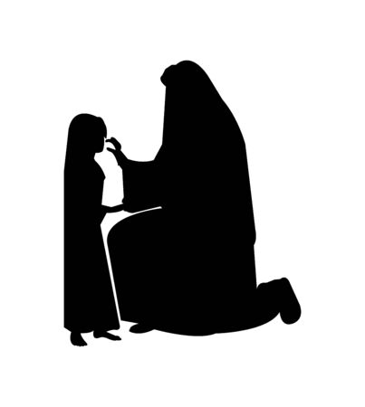 black silhouette of Jesus Christ consoling a little girl isolated on a white background