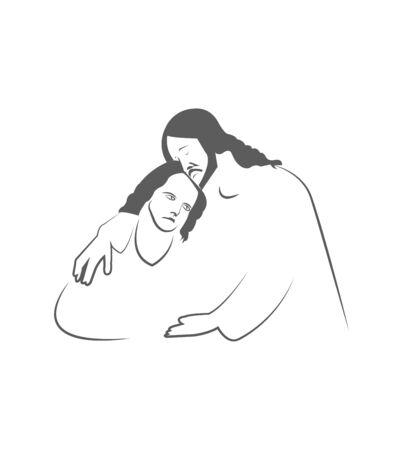 Jesus Christ comforting a man on white 向量圖像
