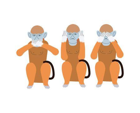 three wise monkeys on white
