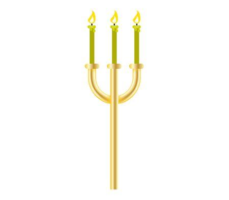 hanuka menora with burning candles isolated