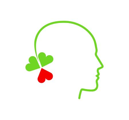 head psychology love three leaf clover concept icon isolated on white background