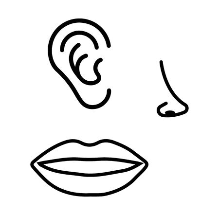 ear mouth nose icon isolated