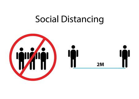 social distancing icons information isolated