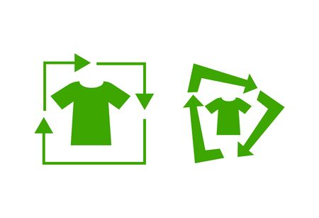 recycling green tshirt icon isolated Vectores