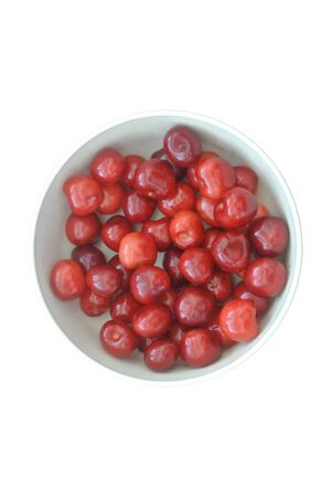 cherries on plate isolated