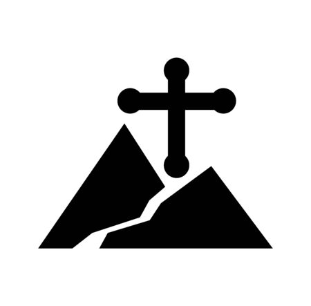cross and mountain road icon isolated