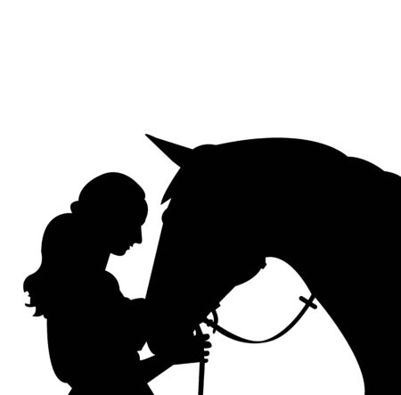 black silhouette of a woman with a horse isolated