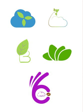 nature leaf icons logos isolated