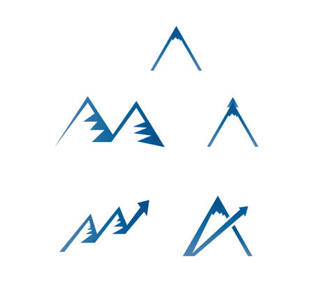 set of five blue calming mountain vector icons isolated