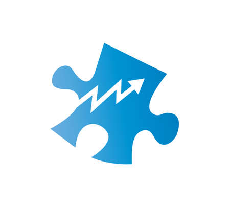 blue puzzle business growth icon isolated Ilustrace