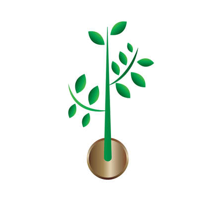 green plant coin icon isolated Ilustrace