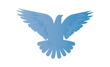 Blue dove of peace icon isolated