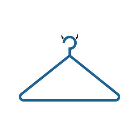 Devil coat hanger icon isolated