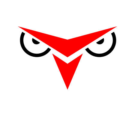 red owl icon isolated Ilustrace