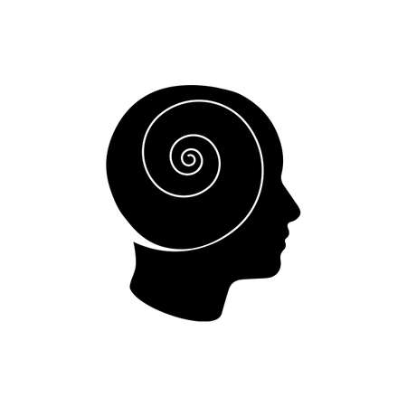 man head spiral psychology icon isolated