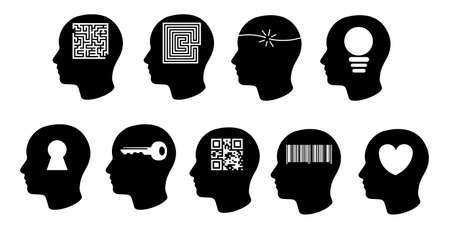 set of creative black head icons