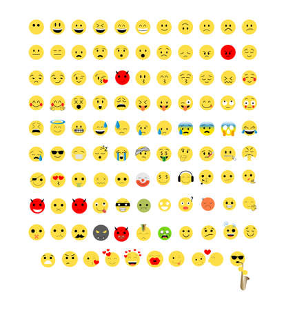set of colorful emoji icons isolated