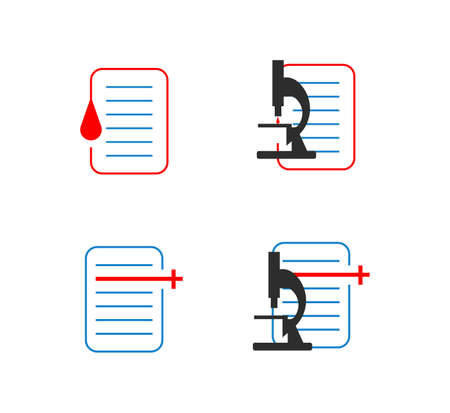 set of blood test microscope healthcare document icons isolated